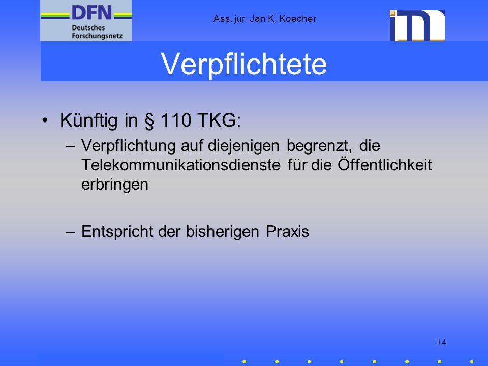 Ass. jur. Jan K. Koecher 14 Verpflichtete Künftig in § 110 TKG: –Verpflichtung auf diejenigen begrenzt, die Telekommunikationsdienste für die Öffentli