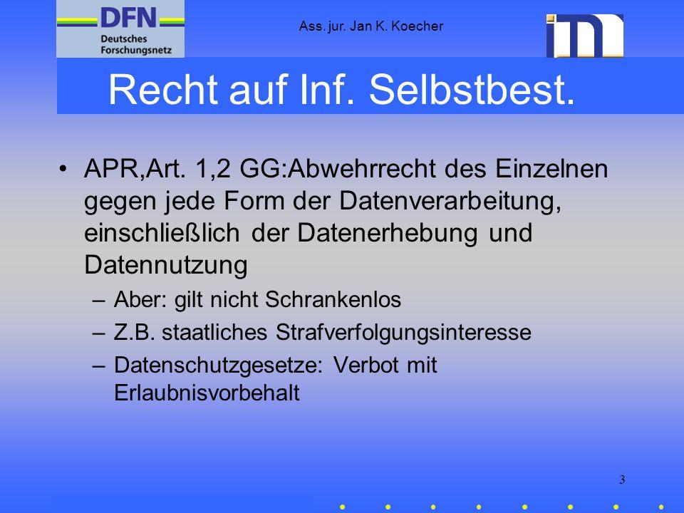 Ass. jur. Jan K. Koecher 3 Recht auf Inf. Selbstbest. APR,Art. 1,2 GG:Abwehrrecht des Einzelnen gegen jede Form der Datenverarbeitung, einschließlich