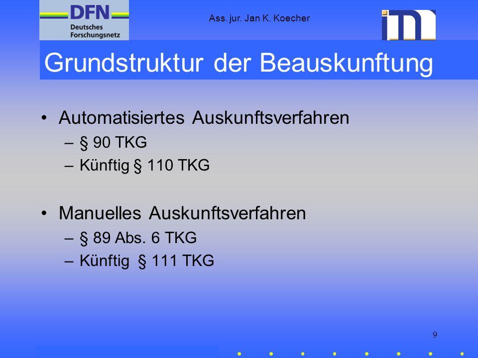 Ass. jur. Jan K. Koecher 9 Grundstruktur der Beauskunftung Automatisiertes Auskunftsverfahren –§ 90 TKG –Künftig § 110 TKG Manuelles Auskunftsverfahre