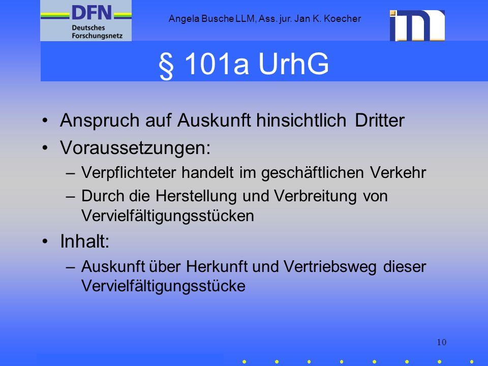 Angela Busche LLM, Ass. jur. Jan K. Koecher 10 § 101a UrhG Anspruch auf Auskunft hinsichtlich Dritter Voraussetzungen: –Verpflichteter handelt im gesc