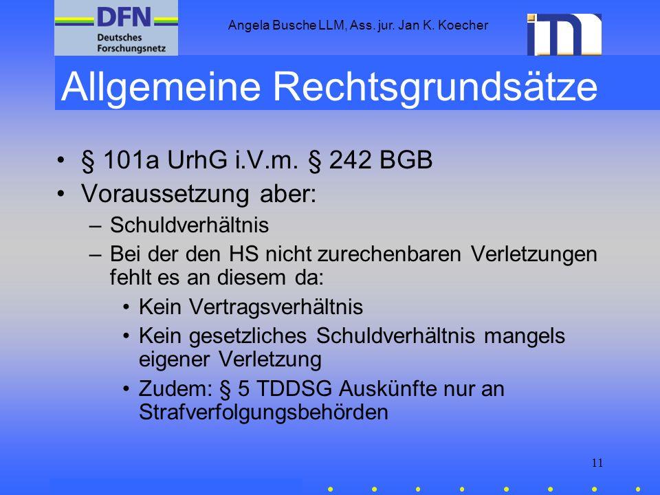Angela Busche LLM, Ass. jur. Jan K. Koecher 11 Allgemeine Rechtsgrundsätze § 101a UrhG i.V.m. § 242 BGB Voraussetzung aber: –Schuldverhältnis –Bei der