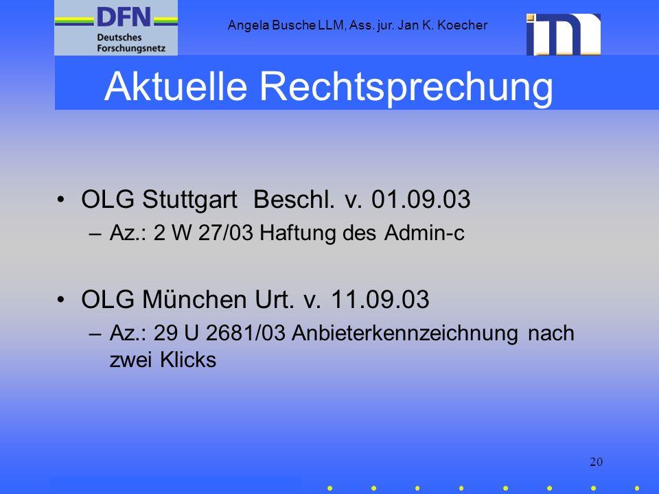 Angela Busche LLM, Ass. jur. Jan K. Koecher 20 Aktuelle Rechtsprechung OLG Stuttgart Beschl. v. 01.09.03 –Az.: 2 W 27/03 Haftung des Admin-c OLG Münch