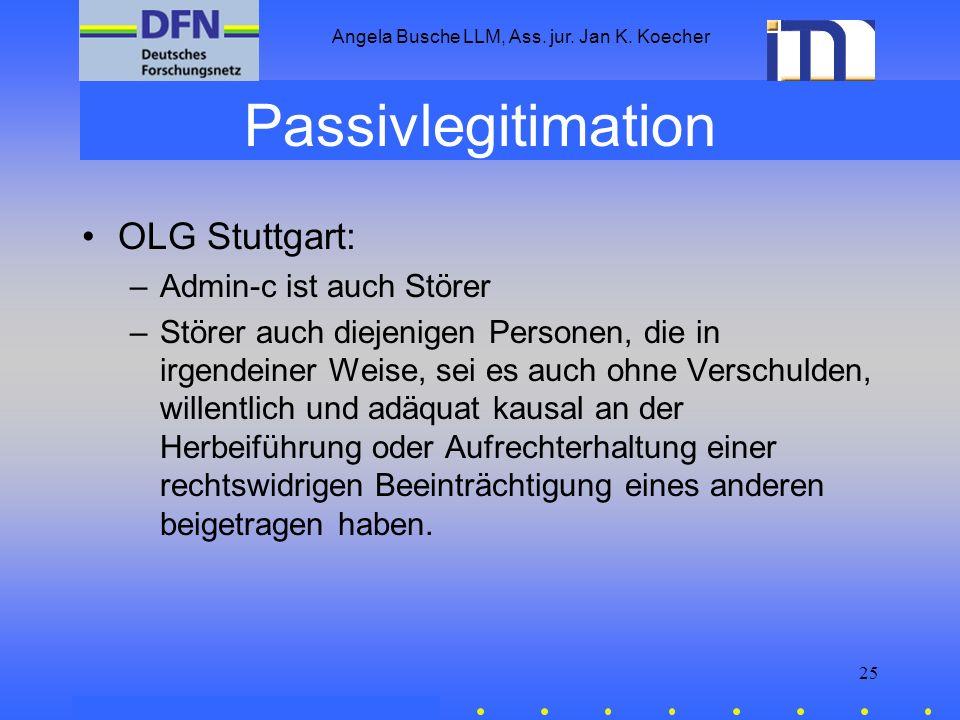 Angela Busche LLM, Ass. jur. Jan K. Koecher 25 Passivlegitimation OLG Stuttgart: –Admin-c ist auch Störer –Störer auch diejenigen Personen, die in irg