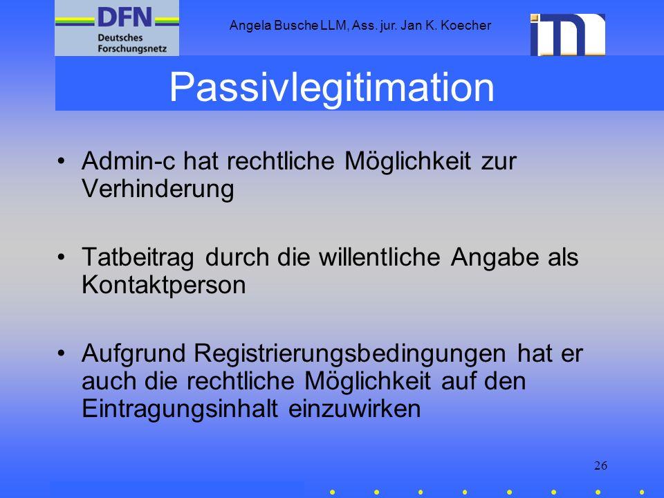 Angela Busche LLM, Ass. jur. Jan K. Koecher 26 Passivlegitimation Admin-c hat rechtliche Möglichkeit zur Verhinderung Tatbeitrag durch die willentlich