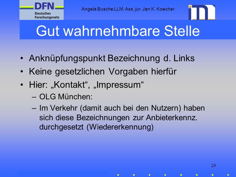 Angela Busche LLM, Ass. jur. Jan K. Koecher 29 Gut wahrnehmbare Stelle Anknüpfungspunkt Bezeichnung d. Links Keine gesetzlichen Vorgaben hierfür Hier: