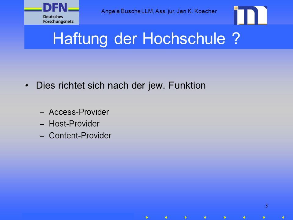 Angela Busche LLM, Ass. jur. Jan K. Koecher 3 Haftung der Hochschule ? Dies richtet sich nach der jew. Funktion –Access-Provider –Host-Provider –Conte