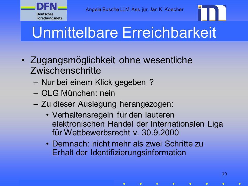 Angela Busche LLM, Ass. jur. Jan K. Koecher 30 Unmittelbare Erreichbarkeit Zugangsmöglichkeit ohne wesentliche Zwischenschritte –Nur bei einem Klick g