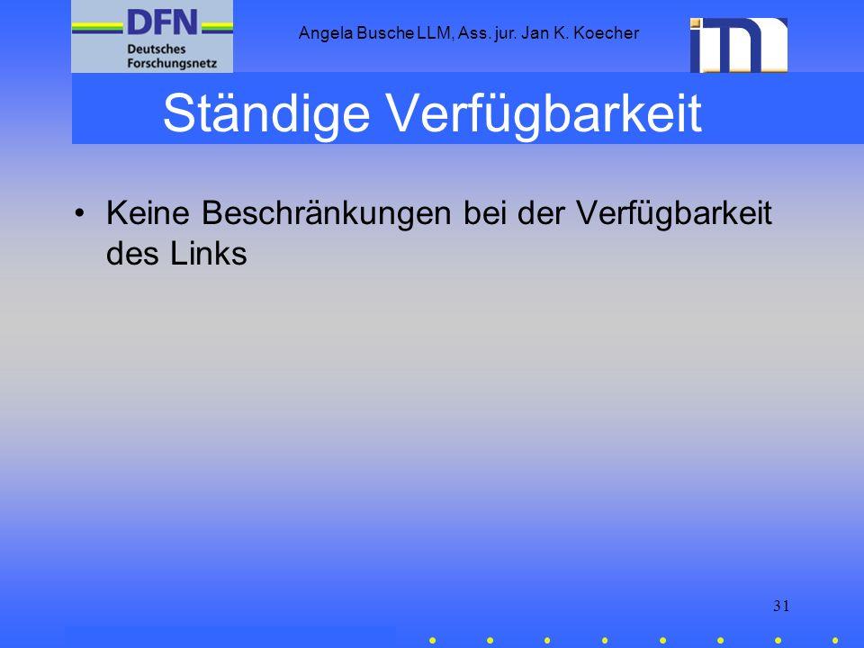 Angela Busche LLM, Ass. jur. Jan K. Koecher 31 Ständige Verfügbarkeit Keine Beschränkungen bei der Verfügbarkeit des Links