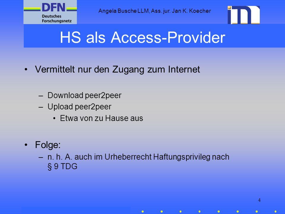 Angela Busche LLM, Ass. jur. Jan K. Koecher 4 HS als Access-Provider Vermittelt nur den Zugang zum Internet –Download peer2peer –Upload peer2peer Etwa