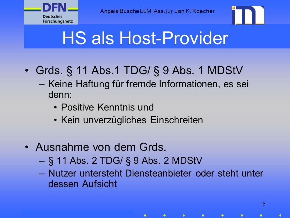 Angela Busche LLM, Ass. jur. Jan K. Koecher 6 HS als Host-Provider Grds. § 11 Abs.1 TDG/ § 9 Abs. 1 MDStV –Keine Haftung für fremde Informationen, es