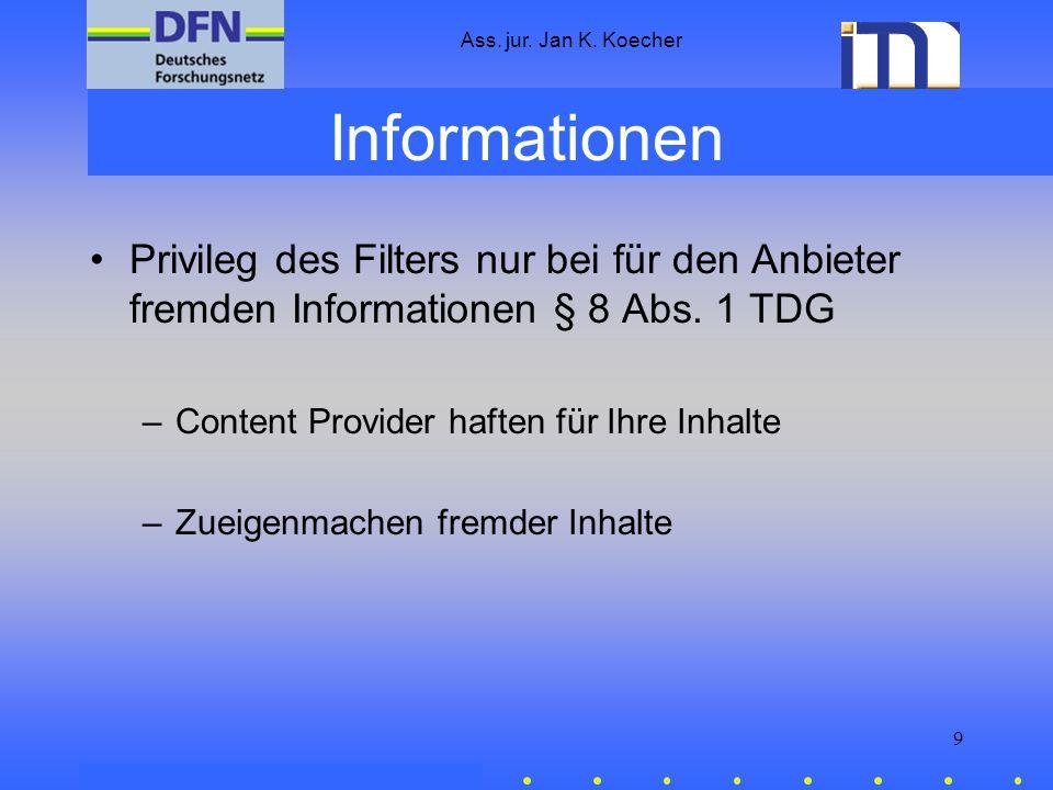 Ass. jur. Jan K. Koecher 20 Kontakt Forschungsstelle Recht des DFN Mail: dfn.recht@uni-muenster.de