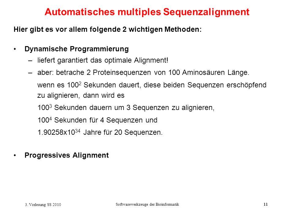 3. Vorlesung SS 2010 Softwarewerkzeuge der Bioinformatik11 Hier gibt es vor allem folgende 2 wichtigen Methoden: Dynamische Programmierung –liefert ga
