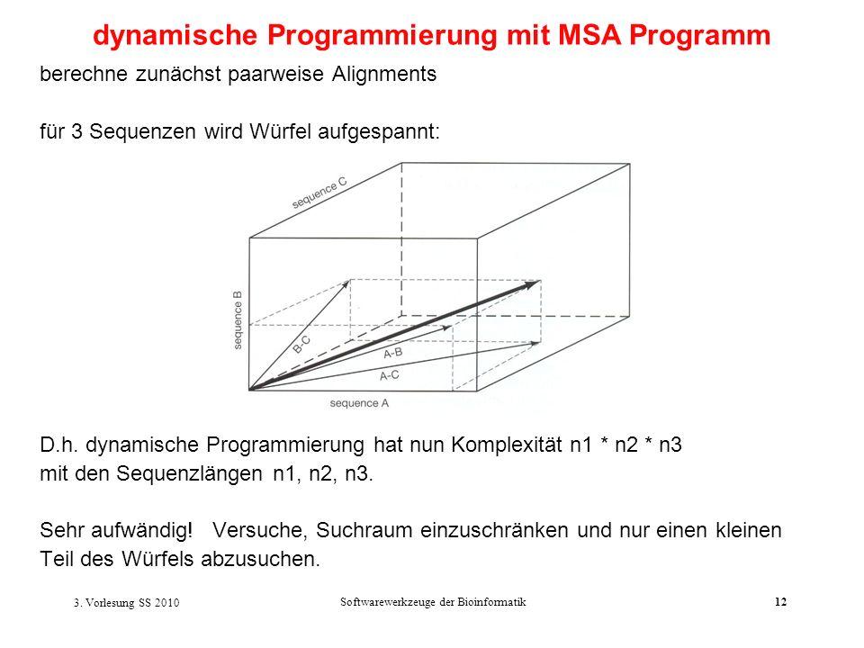 3. Vorlesung SS 2010 Softwarewerkzeuge der Bioinformatik12 berechne zunächst paarweise Alignments für 3 Sequenzen wird Würfel aufgespannt: D.h. dynami
