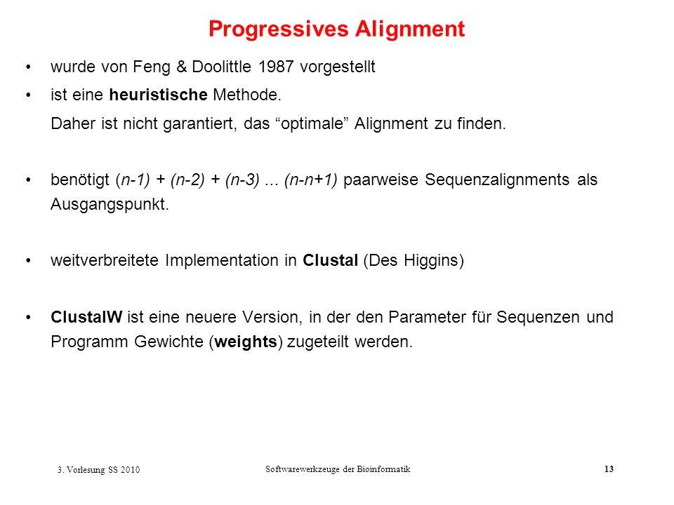 3. Vorlesung SS 2010 Softwarewerkzeuge der Bioinformatik13 wurde von Feng & Doolittle 1987 vorgestellt ist eine heuristische Methode. Daher ist nicht