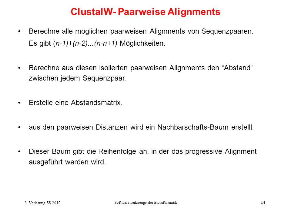 3. Vorlesung SS 2010 Softwarewerkzeuge der Bioinformatik14 Berechne alle möglichen paarweisen Alignments von Sequenzpaaren. Es gibt (n-1)+(n-2)...(n-n