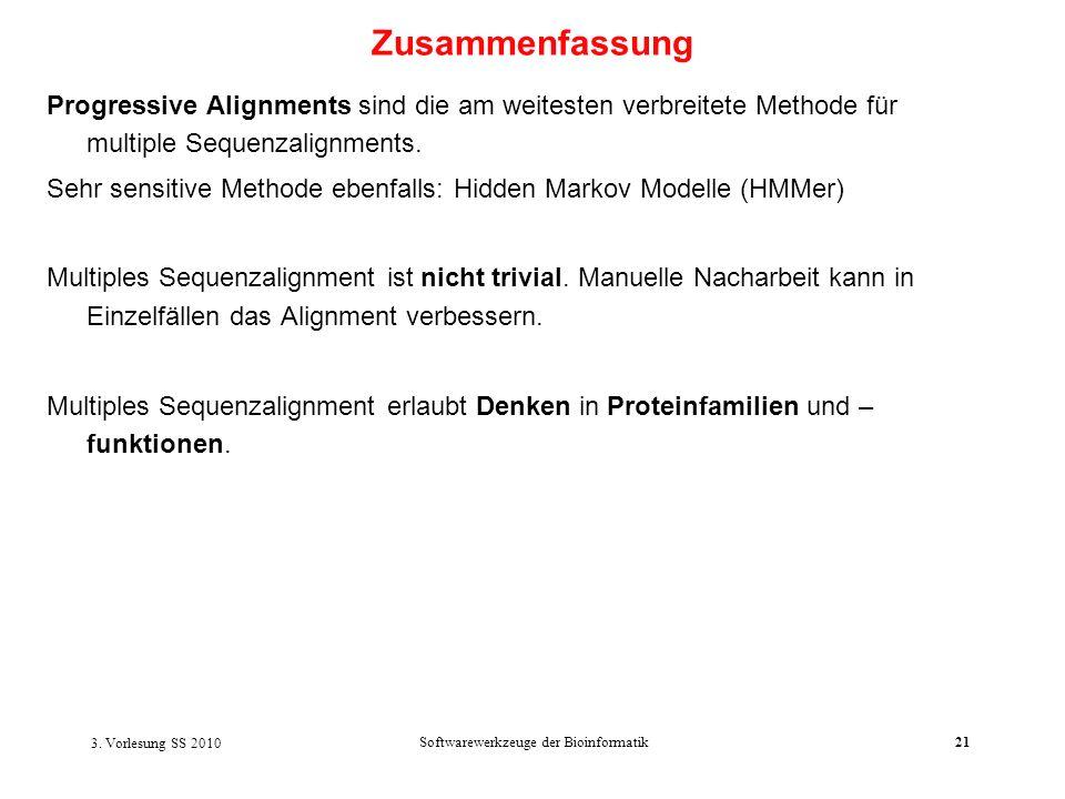 3. Vorlesung SS 2010 Softwarewerkzeuge der Bioinformatik21 Progressive Alignments sind die am weitesten verbreitete Methode für multiple Sequenzalignm