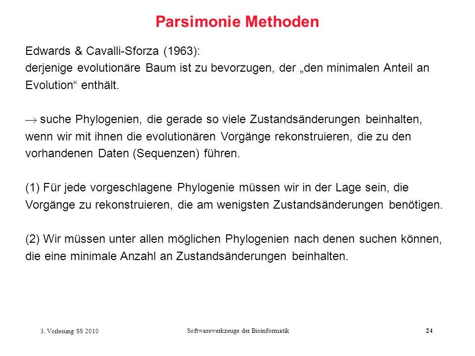 3. Vorlesung SS 2010 Softwarewerkzeuge der Bioinformatik24 Parsimonie Methoden Edwards & Cavalli-Sforza (1963): derjenige evolutionäre Baum ist zu bev