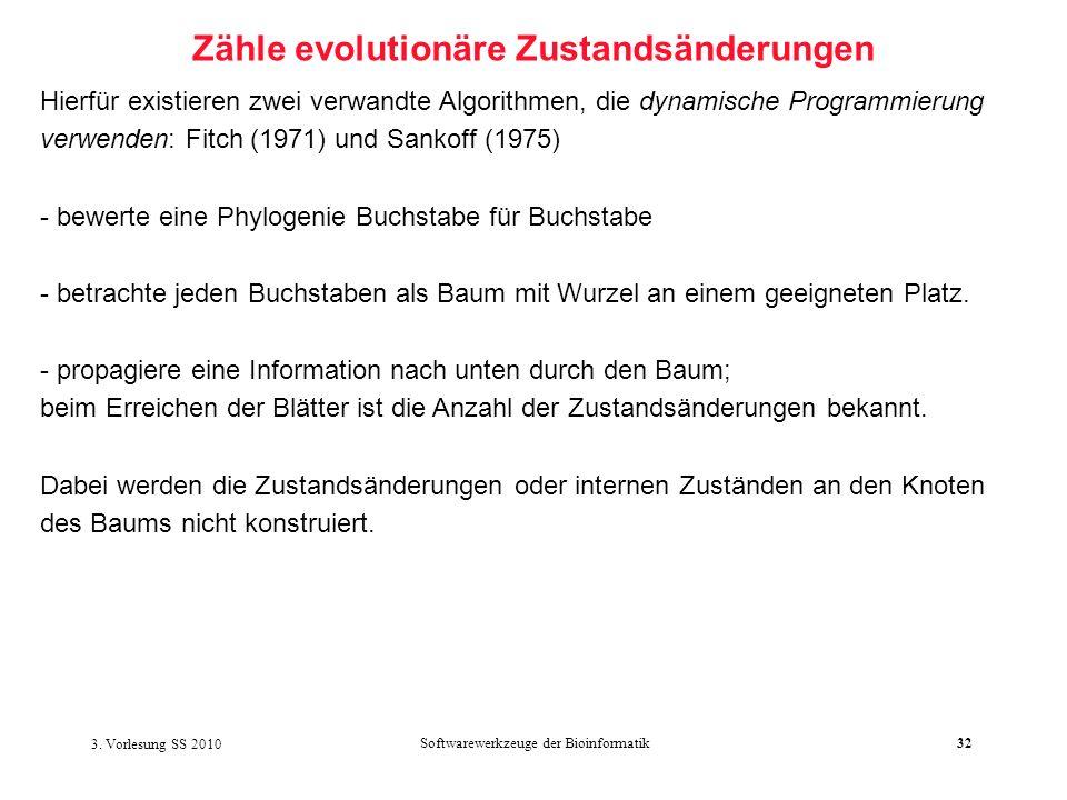3. Vorlesung SS 2010 Softwarewerkzeuge der Bioinformatik32 Zähle evolutionäre Zustandsänderungen Hierfür existieren zwei verwandte Algorithmen, die dy