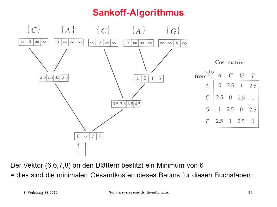 3. Vorlesung SS 2010 Softwarewerkzeuge der Bioinformatik35 Sankoff-Algorithmus Der Vektor (6,6,7,8) an den Blättern bestitzt ein Minimum von 6 = dies