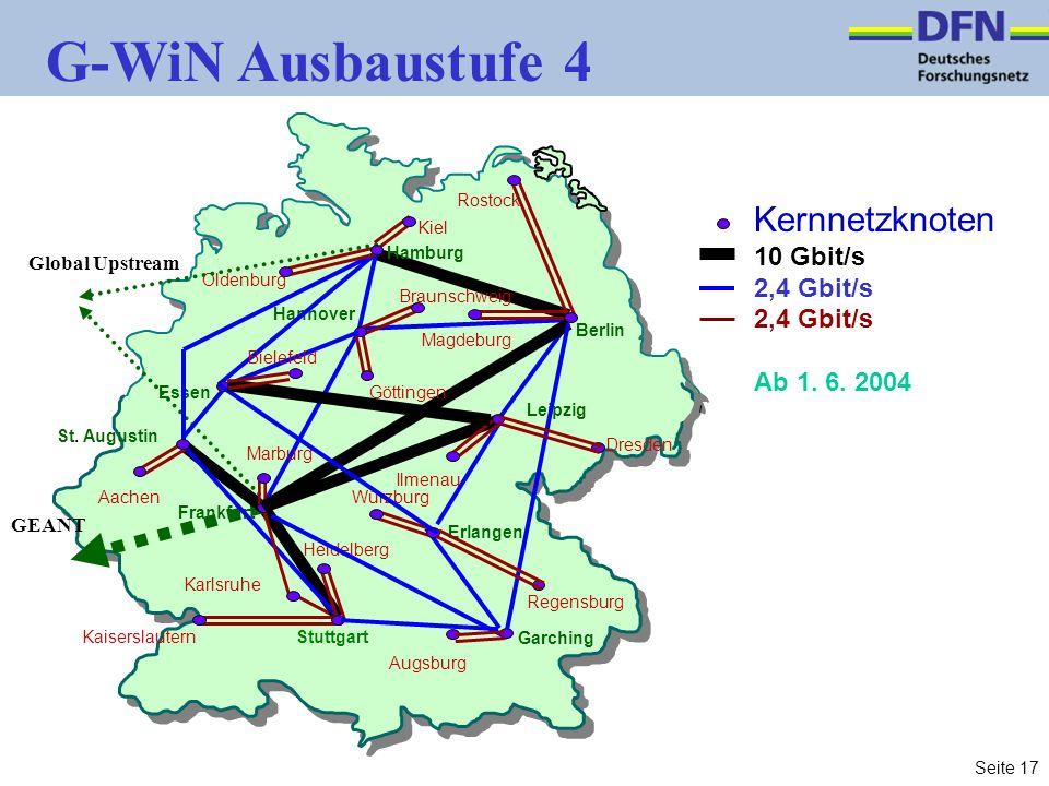 Seite 17 G-WiN Ausbaustufe 4 Leipzig Berlin Frankfurt Karlsruhe Garching Kiel Dresden Aachen Regensburg Kaiserslautern Augsburg Hannover Erlangen Heidelberg Ilmenau Würzburg Magdeburg Oldenburg Essen St.