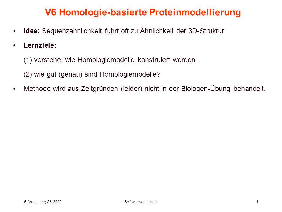 6. Vorlesung SS 2009Softwarewerkzeuge1 V6 Homologie-basierte Proteinmodellierung Idee: Sequenzähnlichkeit führt oft zu Ähnlichkeit der 3D-Struktur Ler