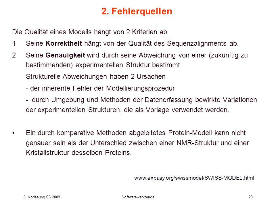 6. Vorlesung SS 2009Softwarewerkzeuge23 2. Fehlerquellen Die Qualität eines Modells hängt von 2 Kriterien ab 1Seine Korrektheit hängt von der Qualität