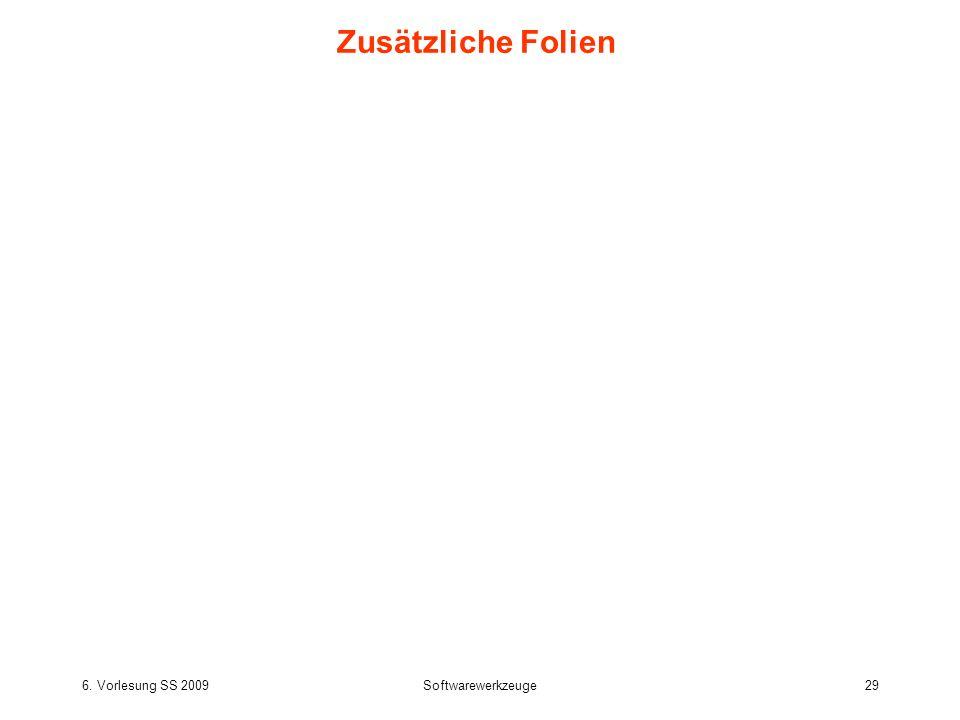 6. Vorlesung SS 2009Softwarewerkzeuge29 Zusätzliche Folien
