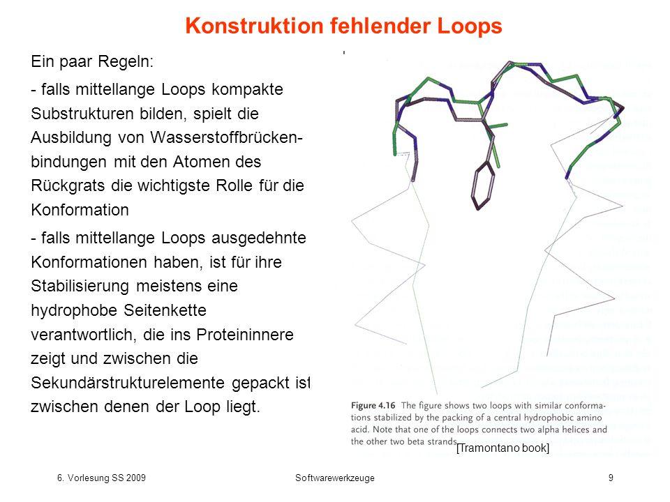 6. Vorlesung SS 2009Softwarewerkzeuge9 Ein paar Regeln: - falls mittellange Loops kompakte Substrukturen bilden, spielt die Ausbildung von Wasserstoff