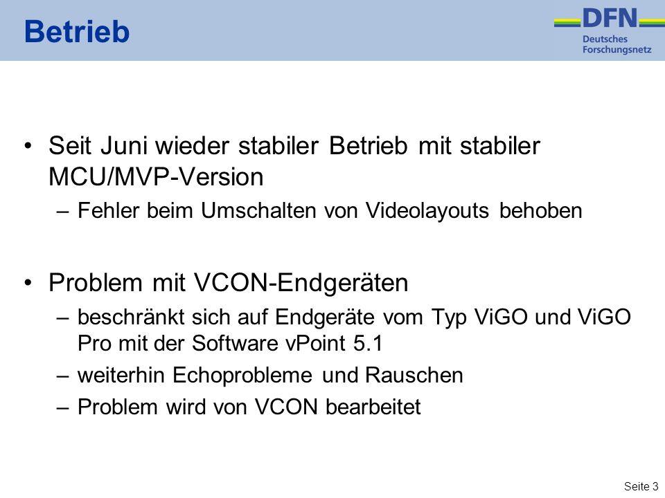 Seite 3 Betrieb Seit Juni wieder stabiler Betrieb mit stabiler MCU/MVP-Version –Fehler beim Umschalten von Videolayouts behoben Problem mit VCON-Endgeräten –beschränkt sich auf Endgeräte vom Typ ViGO und ViGO Pro mit der Software vPoint 5.1 –weiterhin Echoprobleme und Rauschen –Problem wird von VCON bearbeitet