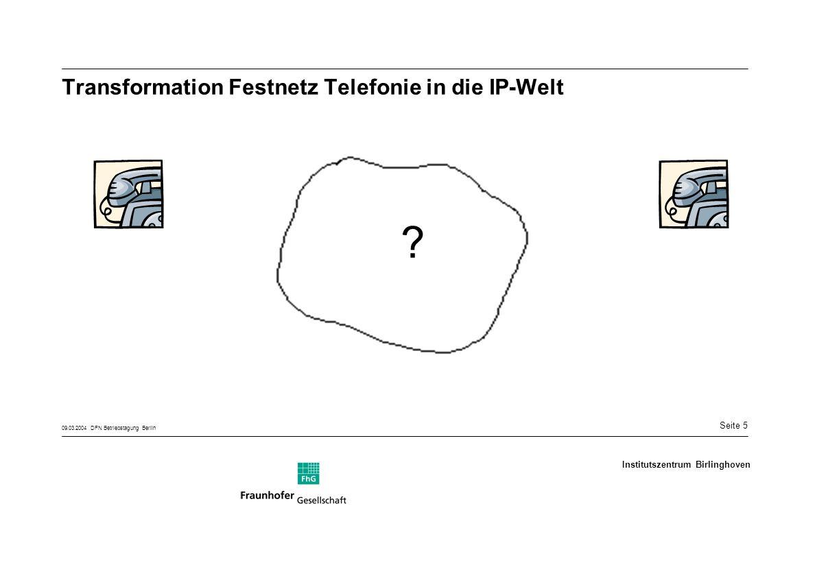 Seite 5 09.03.2004 DFN Betriebstagung Berlin Institutszentrum Birlinghoven Transformation Festnetz Telefonie in die IP-Welt