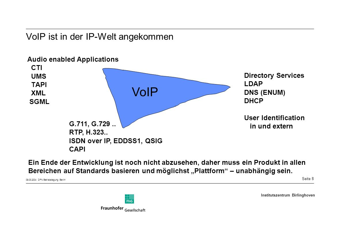 Seite 8 09.03.2004 DFN Betriebstagung Berlin Institutszentrum Birlinghoven VoIP ist in der IP-Welt angekommen Audio enabled Applications CTI UMS TAPI XML SGML Directory Services LDAP DNS (ENUM) DHCP User Identification in und extern G.711, G.729..