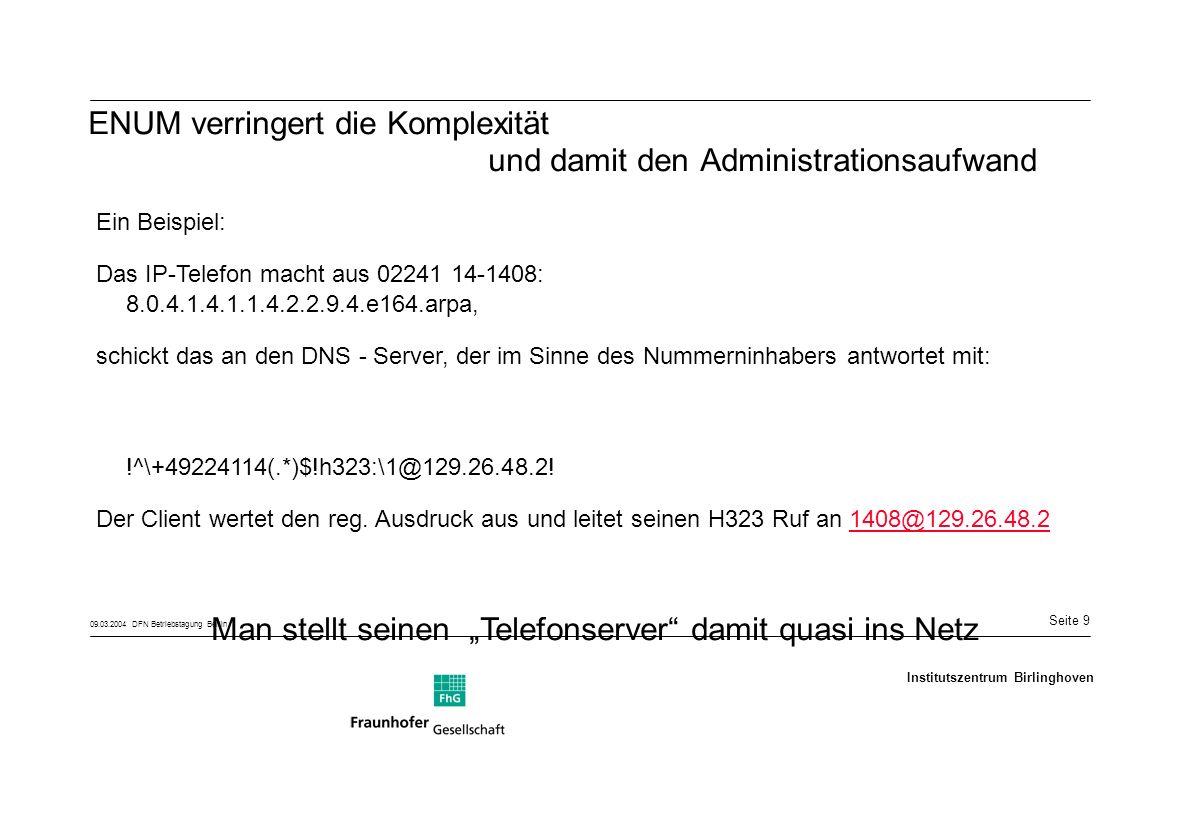 Seite 10 09.03.2004 DFN Betriebstagung Berlin Institutszentrum Birlinghoven Gegebenheiten heute -NAT /PAT -Firewalls -Quality of Service -Öffentliche Adressen -Produkte aussuchen, die problemlos vor der Firewall betrieben werden können -Quality of Service wird damit zu unserer eigentlichen Beschäftigung, falls es überhaupt Probleme geben sollte.