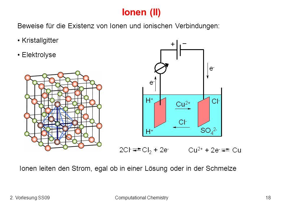 2. Vorlesung SS09Computational Chemistry18 Ionen (II) Beweise für die Existenz von Ionen und ionischen Verbindungen: Kristallgitter Elektrolyse Ionen
