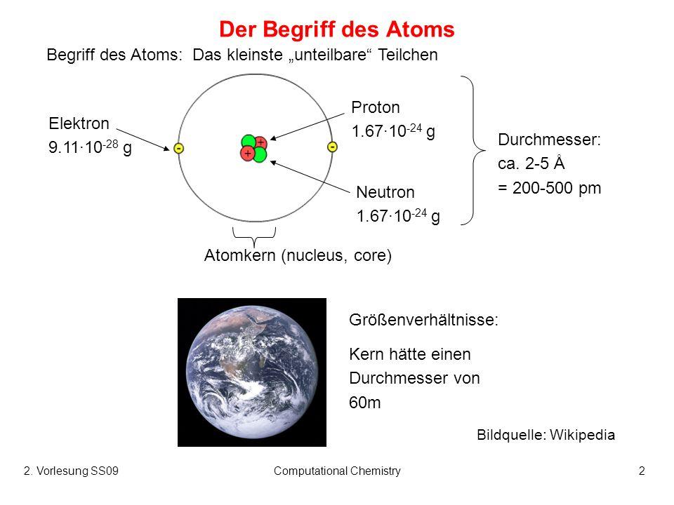 2. Vorlesung SS09Computational Chemistry2 Der Begriff des Atoms Begriff des Atoms: Das kleinste unteilbare Teilchen Größenverhältnisse: Kern hätte ein