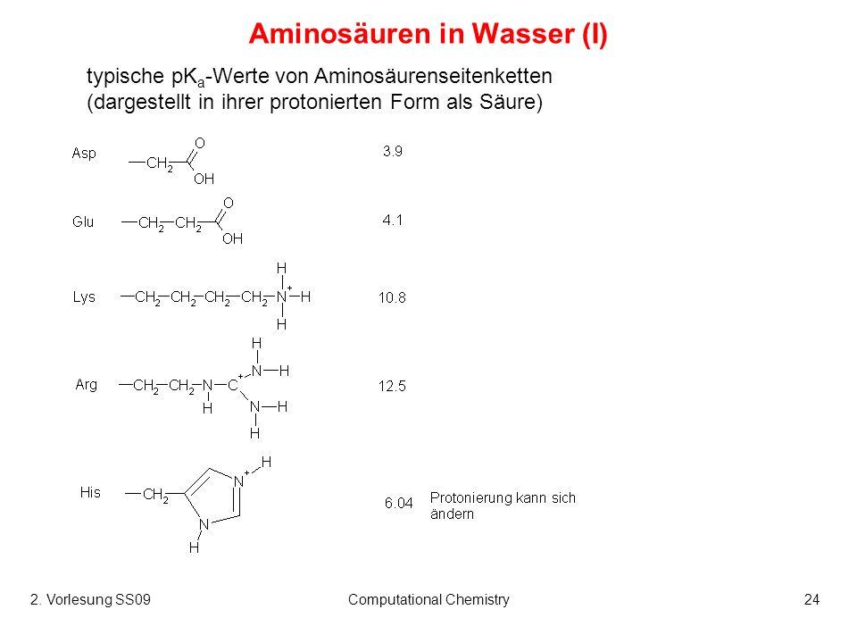 2. Vorlesung SS09Computational Chemistry24 Aminosäuren in Wasser (I) typische pK a -Werte von Aminosäurenseitenketten (dargestellt in ihrer protoniert