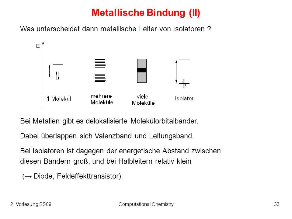 2. Vorlesung SS09Computational Chemistry33 Metallische Bindung (II) Was unterscheidet dann metallische Leiter von Isolatoren ? Bei Metallen gibt es de