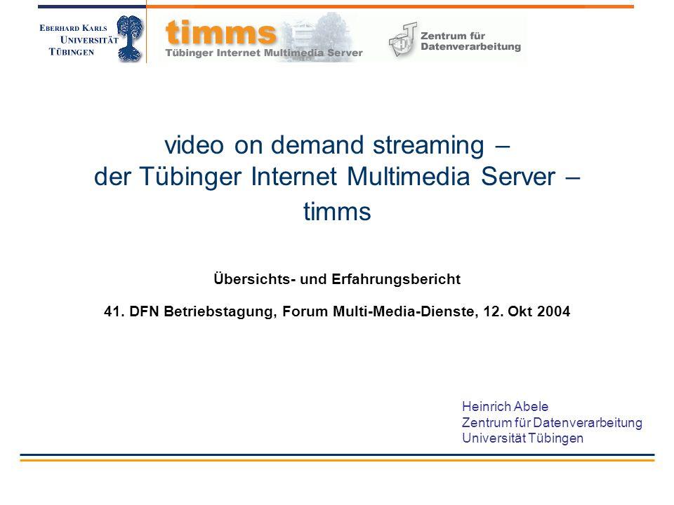 ZDV/HA Oktober 2004http://www.uni-tuebingen.de/timms 22 Das Retrievalsystem des timms Aus Benutzersicht: ein (Web-)Server Aus Benutzersicht: Browsen (hierarchische Suche), Indexsuche (5 Indizes) oder Textsuche.