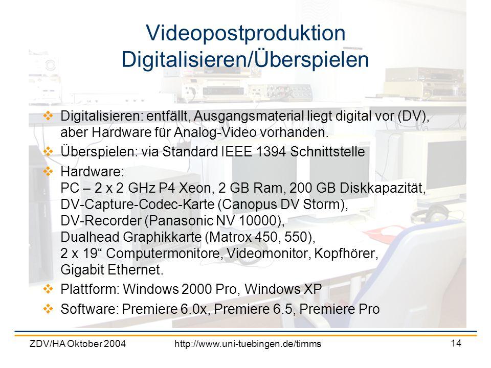 ZDV/HA Oktober 2004http://www.uni-tuebingen.de/timms 14 Videopostproduktion Digitalisieren/Überspielen Digitalisieren: entfällt, Ausgangsmaterial lieg