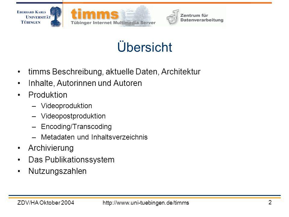 ZDV/HA Oktober 2004http://www.uni-tuebingen.de/timms 2 Übersicht timms Beschreibung, aktuelle Daten, Architektur Inhalte, Autorinnen und Autoren Produ