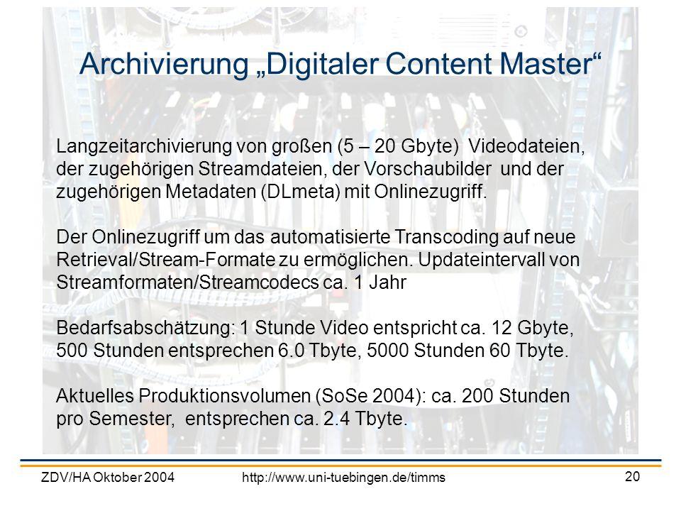 ZDV/HA Oktober 2004http://www.uni-tuebingen.de/timms 20 Archivierung Digitaler Content Master Langzeitarchivierung von großen (5 – 20 Gbyte) Videodate