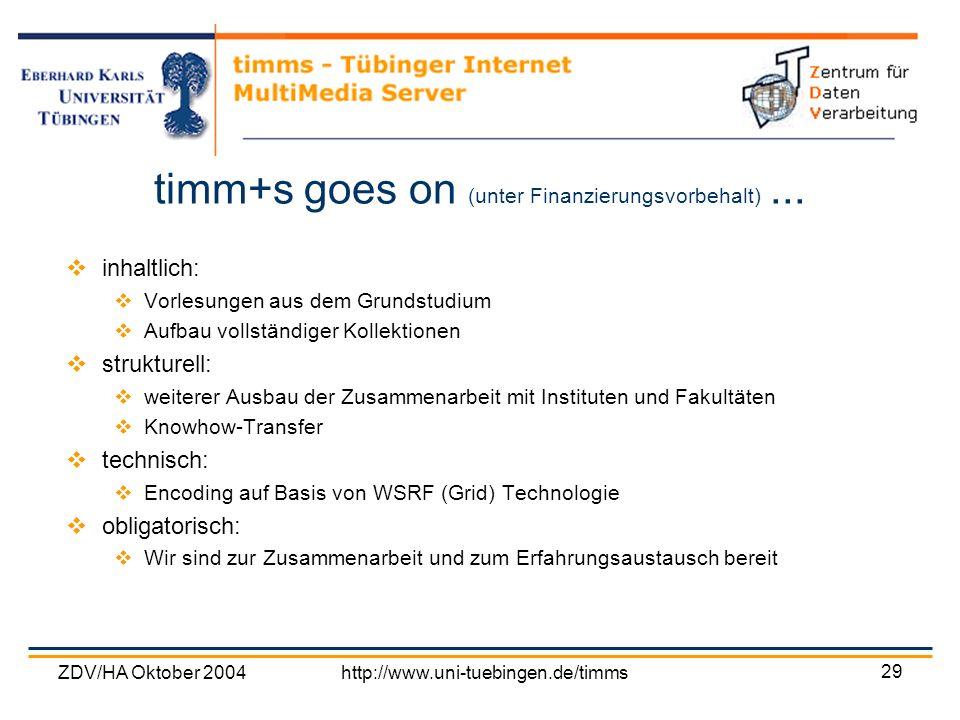 ZDV/HA Oktober 2004http://www.uni-tuebingen.de/timms 29 timm+s goes on (unter Finanzierungsvorbehalt)... inhaltlich: Vorlesungen aus dem Grundstudium