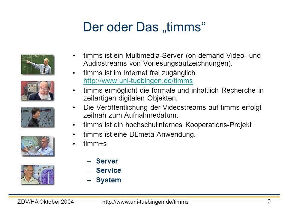 ZDV/HA Oktober 2004http://www.uni-tuebingen.de/timms 3 Der oder Das timms timms ist ein Multimedia-Server (on demand Video- und Audiostreams von Vorle