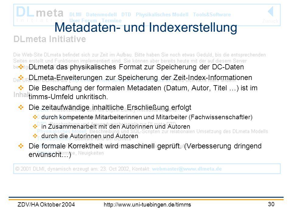 ZDV/HA Oktober 2004http://www.uni-tuebingen.de/timms 30 Metadaten- und Indexerstellung DLmeta das physikalisches Format zur Speicherung der DC-Daten D