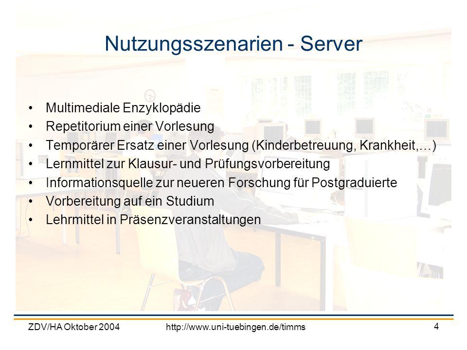 ZDV/HA Oktober 2004http://www.uni-tuebingen.de/timms 4 Nutzungsszenarien - Server Multimediale Enzyklopädie Repetitorium einer Vorlesung Temporärer Er