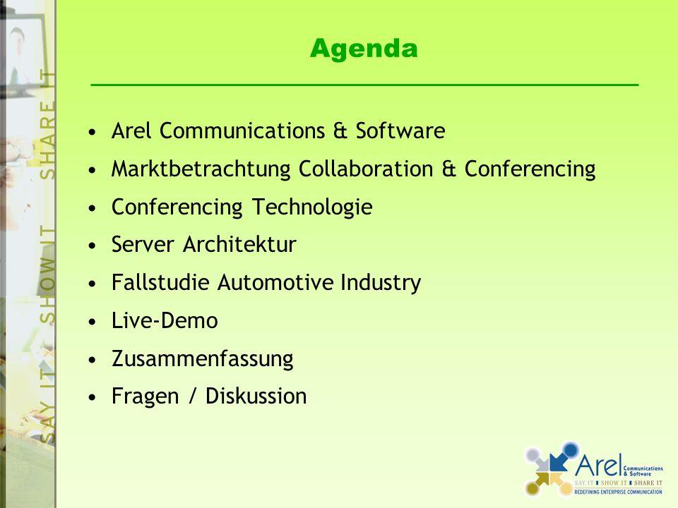 Agenda Arel Communications & Software Marktbetrachtung Collaboration & Conferencing Conferencing Technologie Server Architektur Fallstudie Automotive Industry Live-Demo Zusammenfassung Fragen / Diskussion
