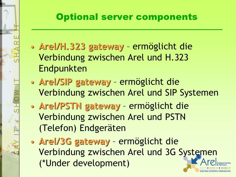 Optional server components Arel/H.323 gatewayArel/H.323 gateway – ermöglicht die Verbindung zwischen Arel und H.323 Endpunkten Arel/SIP gatewayArel/SIP gateway – ermöglicht die Verbindung zwischen Arel und SIP Systemen Arel/PSTN gatewayArel/PSTN gateway – ermöglicht die Verbindung zwischen Arel und PSTN (Telefon) Endgeräten Arel/3G gatewayArel/3G gateway – ermöglicht die Verbindung zwischen Arel und 3G Systemen (*Under development)