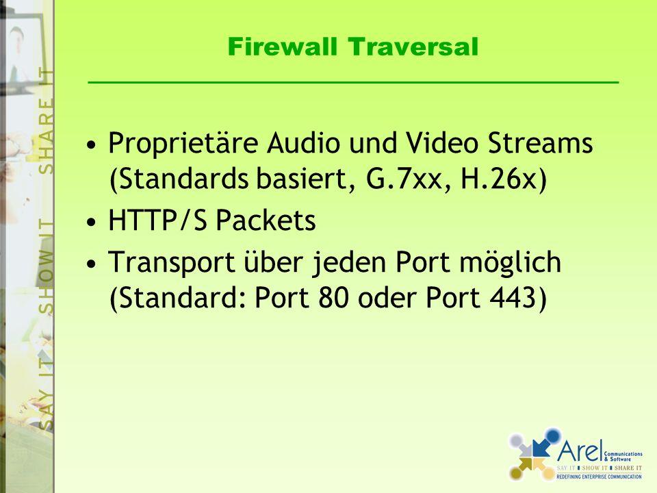 Firewall Traversal Proprietäre Audio und Video Streams (Standards basiert, G.7xx, H.26x) HTTP/S Packets Transport über jeden Port möglich (Standard: P