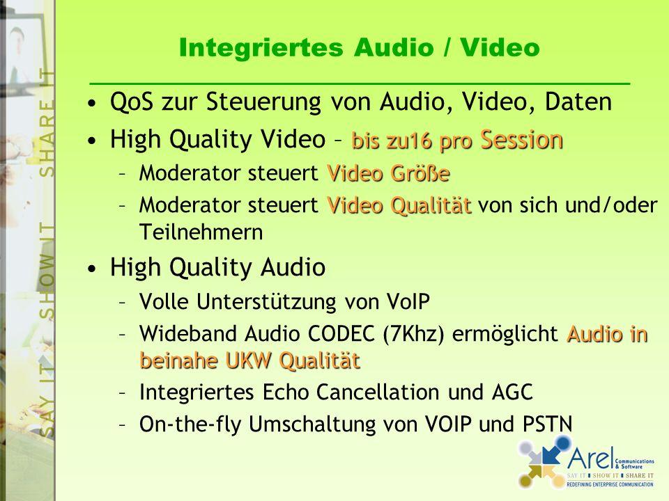 Integriertes Audio / Video QoS zur Steuerung von Audio, Video, Daten bis zu16 pro SessionHigh Quality Video – bis zu16 pro Session Video Größe –Moderator steuert Video Größe Video Qualität –Moderator steuert Video Qualität von sich und/oder Teilnehmern High Quality Audio –Volle Unterstützung von VoIP Audio in beinahe UKW Qualität –Wideband Audio CODEC (7Khz) ermöglicht Audio in beinahe UKW Qualität –Integriertes Echo Cancellation und AGC –On-the-fly Umschaltung von VOIP und PSTN