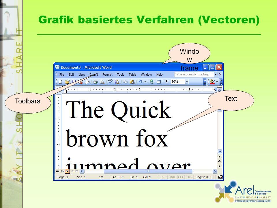 Grafik basiertes Verfahren (Vectoren) Windo w frame Toolbars Text