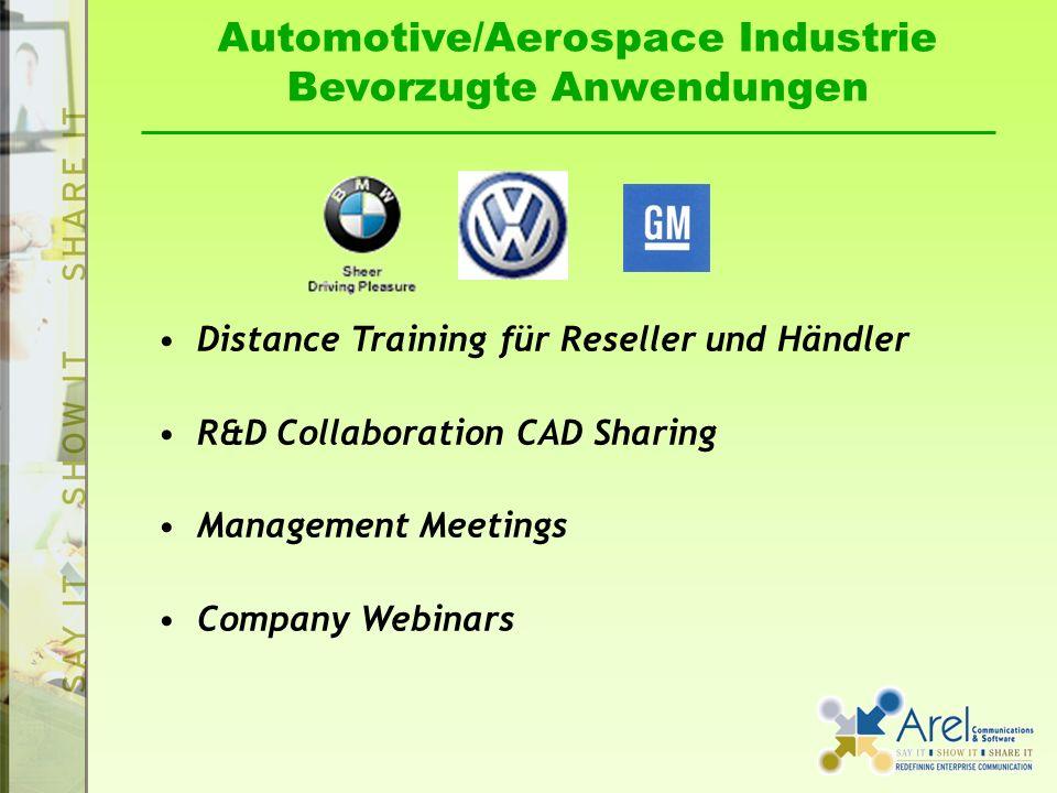 Automotive/Aerospace Industrie Bevorzugte Anwendungen Distance Training für Reseller und Händler R&D Collaboration CAD Sharing Management Meetings Com
